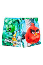Printed swimming trunks - Turquoise/Angry Birds - Kids | H&M CN 1