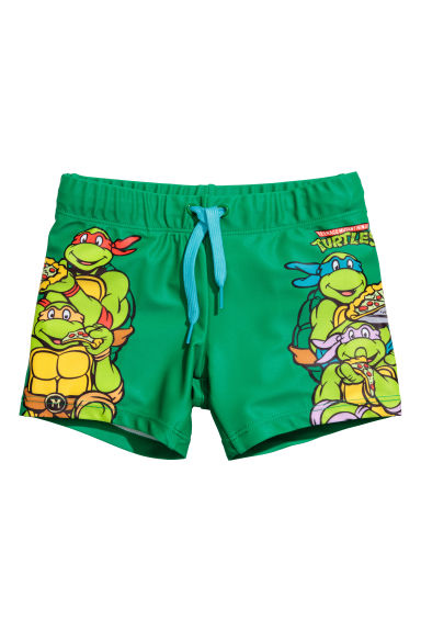 Printed swimming trunks - Green/Turtles - Kids | H&M 1