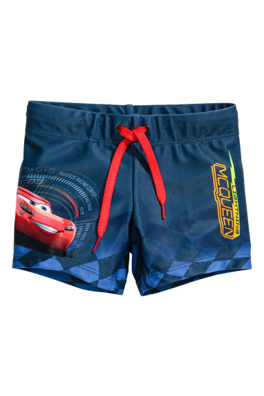 Printed swimming trunks - Dark blue/Cars -  | H&M 1