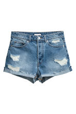 Short High Waist Shorts - Denimblauw trashed - DAMES | H&M BE 3