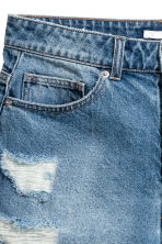 Short High Waist Shorts - Denimblauw trashed - DAMES | H&M BE 5