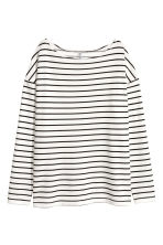 長袖平紋上衣 - White/Striped - Ladies | H&M 3