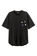 T-shirt with appliqués - Black - Men | H&M 2