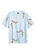 Patterned T-shirt - Light blue/Birds - Men | H&M 2