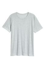 亞麻平紋T恤 - Light grey marl -  | H&M 2