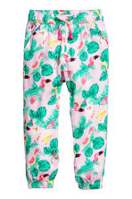 Patterned pull-on trousers - Light pink/Leaf - Kids | H&M CN 2
