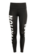 Sports tights - Black/Text print - Ladies | H&M 2