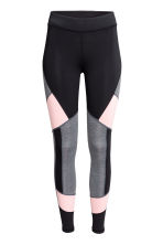 Sports tights - Black/Light pink - Ladies | H&M CN 2