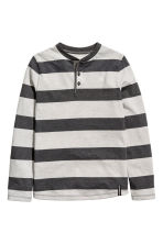 Henley shirt - Dark grey/Striped -  | H&M 2