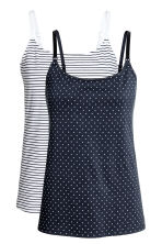 MAMA 2-pack nursing vest tops - White/Striped - Ladies | H&M 2
