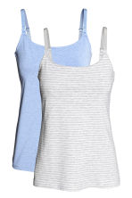 MAMA 2-pack nursing vest tops - Light grey/Striped - Ladies | H&M CN 2