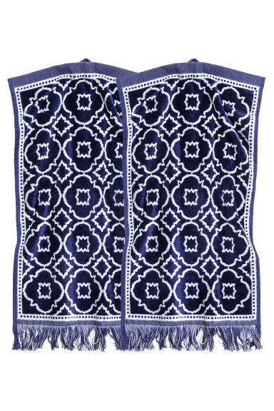 Lot de 2 essuie-mains - Bleu foncé/motif - Home All | H&M FR