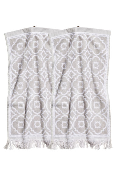 2-pack guest towels - Light grey/Patterned - Home All | H&M CN 1