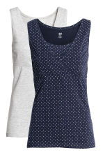 MAMA 2-pack nursing tops - Dark blue/Spotted - Ladies | H&M 2