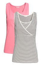MAMA 2-pack nursing tops - White/Striped - Ladies | H&M 2