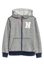 Marled hooded jacket - Dark blue/Narrow striped - Kids | H&M CN 2
