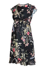 MAMA Wrapover dress - Black/Floral -  | H&M 2