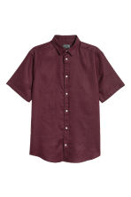 Short-sleeved linen shirt - Burgundy - Men | H&M 2