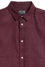 Short-sleeved linen shirt - Burgundy - Men | H&M 3