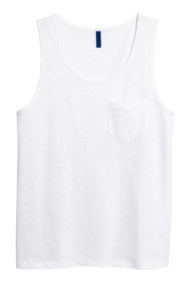 Vest top with a chest pocket - White - Men | H&M 1