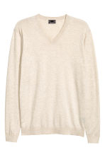Premium cotton jumper - Light beige marl - Men | H&M 2