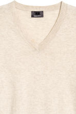Premium cotton jumper - Light beige marl - Men | H&M 3