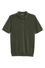 Silk-blend polo shirt - Dark khaki green - Men | H&M CN 2