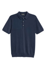 Silk-blend polo shirt - Navy blue - Men | H&M 2