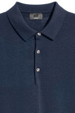 Silk-blend polo shirt - Navy blue - Men | H&M 3