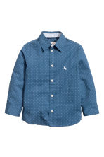 Cotton shirt - Dark blue/Spotted - Kids | H&M 1