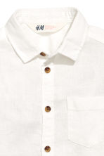 Linen-blend shirt - White - Kids | H&M 4