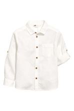 Linen-blend shirt - White - Kids | H&M 3