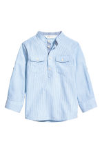 Cotton grandad shirt - Light blue/Striped -  | H&M 2