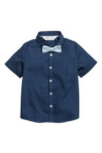 Shirt with tie/bow tie - Dark blue -  | H&M 2