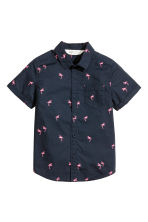 Short-sleeved cotton shirt - Dark blue/Flamingo - Kids | H&M 2