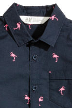 Short-sleeved cotton shirt - Dark blue/Flamingo - Kids | H&M 3