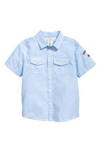 Short-sleeved cotton shirt - Light blue/Striped -  | H&M CN 2