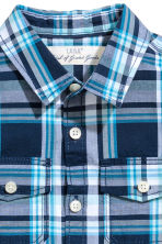 Short-sleeved cotton shirt - Dark blue/Checked -  | H&M CN 3