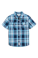 Short-sleeved cotton shirt - Dark blue/Checked -  | H&M CN 2
