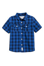 Short-sleeved cotton shirt - Cornflower blue/Checked -  | H&M 2