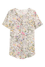Short-sleeved top - Natural white/Floral - Ladies | H&M 2