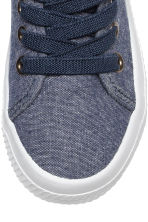 Sneakers in tela di cotone - Blu scuro mélange - BAMBINO | H&M IT 3