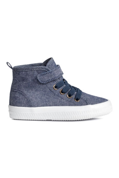 Sneakers in tela di cotone - Blu scuro mélange - BAMBINO | H&M IT 1