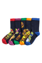 5-pack socks - Dark blue/Turtles - Kids | H&M 1