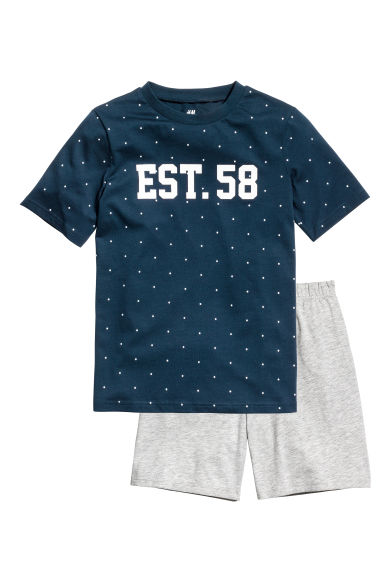 Jersey pyjamas - Dark blue/Spotted -  | H&M 1