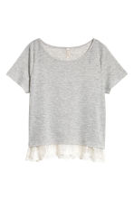 Top with a lace trim - Grey - Ladies | H&M CN 3