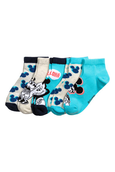 5-pack trainer socks - Turquoise/Mickey Mouse -  | H&M CN 1
