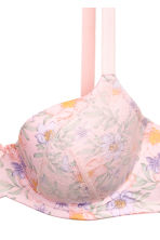 Padded underwired bra E/F cup - Light pink/Floral - Ladies | H&M 3