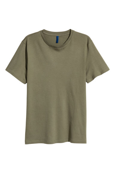 Round-necked T-shirt - Khaki green - Men | H&M CN 1
