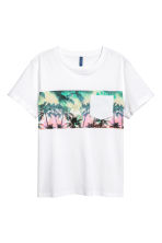 T-shirt with a chest pocket - White/Palms - Men | H&M 2